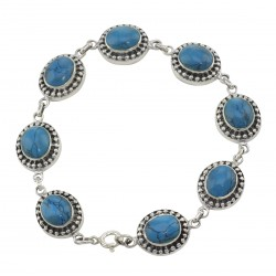 Turquoise Oval Link Bracelet - 7 1/4 inch - Sterling Silver