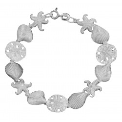 Sea Shell - Starfish - Sand Dollar Bracelet in Fine Sterling Silver
