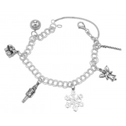 Beautiful Merry Christmas Charm Bracelet - Sterling Silver - Holiday