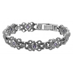Victorian Style Marcasite  Amethyst Bracelet - 7 1/4 inches - Sterling Silver