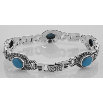 Classic Turquoise and Marcasite Bracelet - Large - Sterling Silver