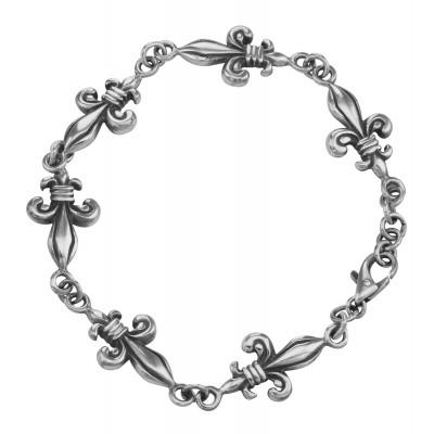 Antique Style French Fleur De Lis Bracelet Sterling Silver 8 Inches Long