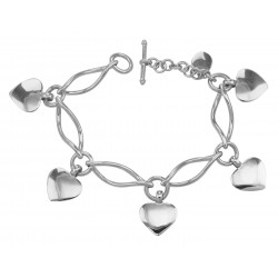 Beautiful Ferroni Italian made Twisted Heart Bracelet - 7 inch - Sterling Silver
