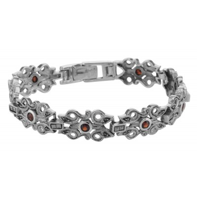 Victorian Style Marcasite  Garnet Bracelet - 7 1/4 inches - Sterling Silver