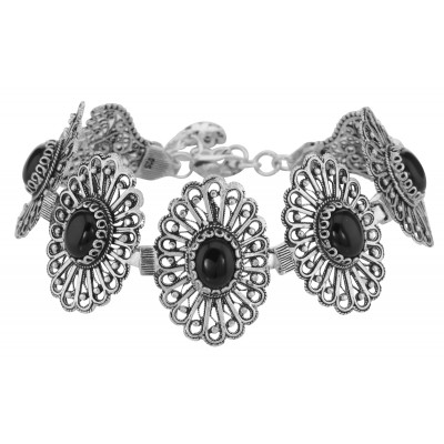 Antique Style Black Onyx Filigree Bracelet - Sterling Silver