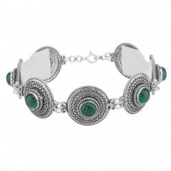 Classic Vintage Style Filigree Green Agate Filigree Bracelet - Sterling Silver