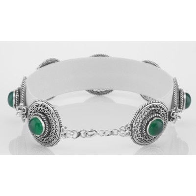 Classic Vintage Style Filigree Green Agate Filigree Bracelet - Sterling Silver
