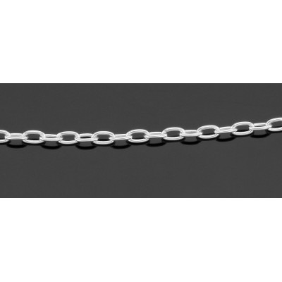 Light Oval Cable Chain Necklace - 18 inch - Sterling Silver