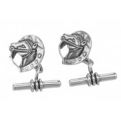 Cuff Links - Cufflinks Horse - Toggle Style - Sterling Silver
