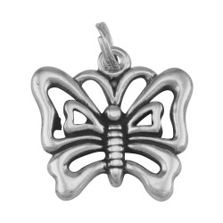 Cute Filigree Butterfly Charm or Pendant - Sterling Silver