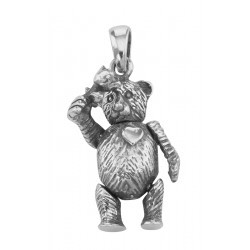 Teddy Bear Rose in Hand Pendant Charm - Movable Sterling Silver