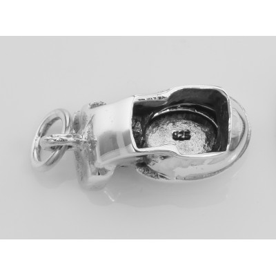 Sterling Silver Movable Toilet Charm Pendant Lid Opens - Potty