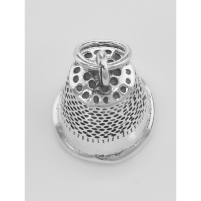 Cute Thimble Sewing Charm or Pendant Made in Fine Sterling Silver