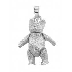 Moveable Teddy Bear Pendant Charm - Movable - Sterling Silver