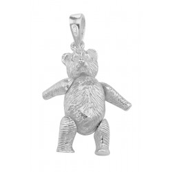 Movable Teddy Bear Pendant Charm - Large - Sterling Silver
