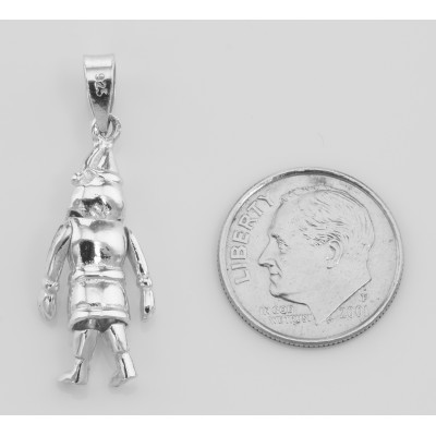 Moveable Santa Claus Pendant Charm - Movable - Sterling Silver