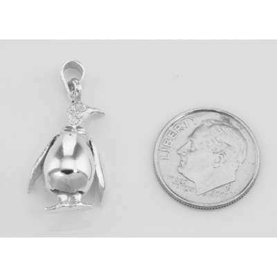 Moveable Penguin Pendant Charm - Movable - Sterling Silver
