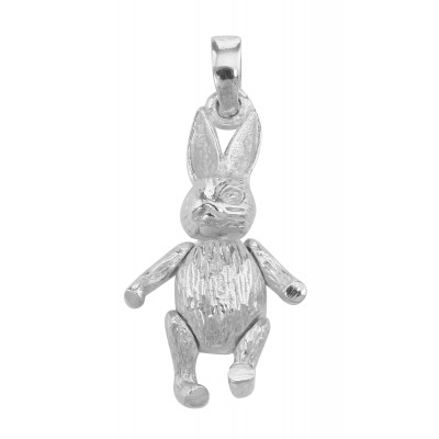Moveable Rabbit Pendant Charm - Movable - Sterling Silver