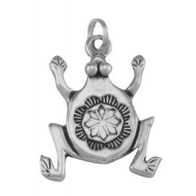Vintage Style Frog Charm or Pendant - Stylized - Sterling Silver