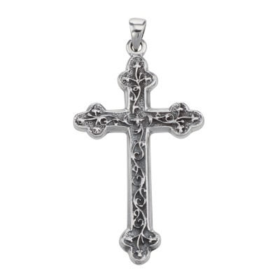 Antique Style Cross Pendant - Classic Wandering Vine Pattern Sterling Silver