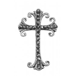 Antique Style Marcasite Cross Pendant - Sterling Silver