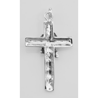 Cross Pendant with Rose Design - Sterling Silver