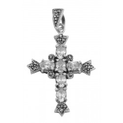 Antique Style Cubic Zirconia / Marcasite Cross Pendant Sterling Silver