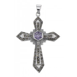Antique Style Amethyst and Marcasite Cross Pendant - Sterling Silver