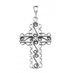 Twisted Rope Design Filigree Cross Pendant - Sterling Silver