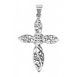Beautiful Antique Style Filigree Cross Pendant - Sterling Silver