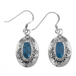 Antique Style Turquoise Earrings - Sterling Silver