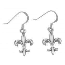 Cute French Style Fleur de Lis Earrings - Sterling Silver