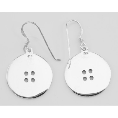 Vintage Style Cute as a Button Earrings - Sterling Silver