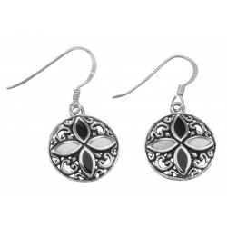Antique Style Black Onyx and Mother of Pearl Earrings - Sterling Silver