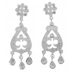 Beautiful Sparkling Cubic Zirconia Dangle Earrings - Sterling Silver