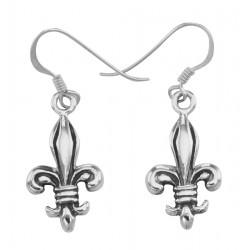 French Wire Fleur de Lis Earrings - Sterling Silver