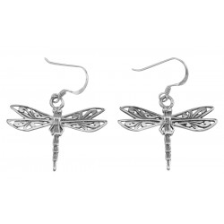 Cute Filigree Dragonfly Earrings - Sterling Silver