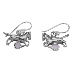 Horse Earrings with Pink Mother of Pearl - Sterling Silver