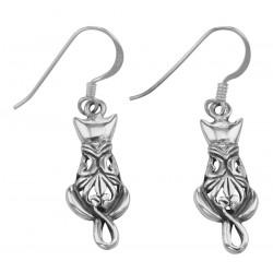 Cute Kitty Cat Filigree French Wire Earrings in Fine Sterling Silver