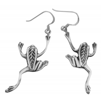 Leaping Frog Earrings - Sterling Silver