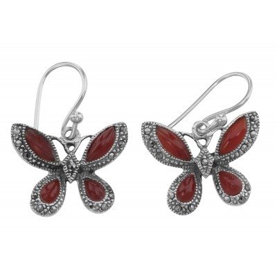 Red Carnelian Marcasite Butterfly Earrings Sterling Silver
