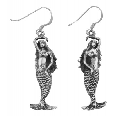 Unique Sea Mermaid Earrings with French Wire - Sterling Silver