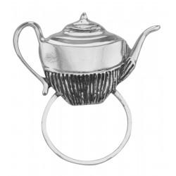 Eyeglass Holder Pin / Eye Glass Loop Brooch Tea Pot - Sterling Silver