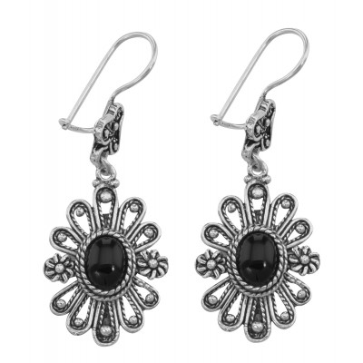 c62cdc8b3 Antique Style Jewelry and Gifts Antique Style Black Onyx Earrings with Flower  Design - Sterling Silver - ET-031