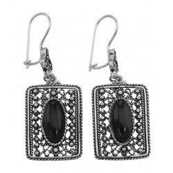 52d52ca82 Classic Antique Style Rectangular Black Onyx Earrings - Sterling Silver