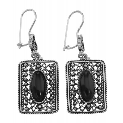 Classic Antique Style Rectangular Black Onyx Earrings - Sterling Silver