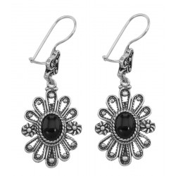 Antique Style Black Onyx Earrings with Flower Design - Sterling Silver