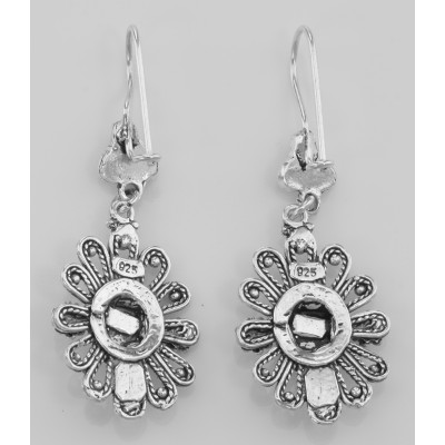 634f81031 Antique Style Black Onyx Earrings with Flower Design - Sterling Silver