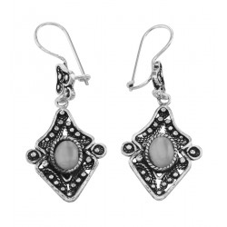 French Wire Moonstone Dangle Earrings - Sterling Silver