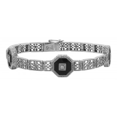 Art Deco Style Black Onyx and White Topaz Filigree Link Bracelet Sterling